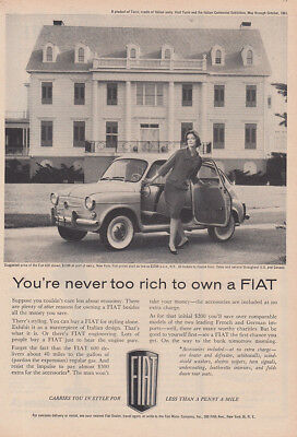1961 Fiat: You're Never Too Rich to Own Vintage Print Ad