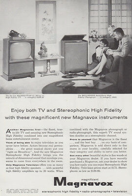 1958 Magnavox: Both TV and Stereophonic High Fidelity Vintage Print Ad