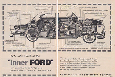 1956 Ford: Take a Look at the Inner Ford Vintage Print Ad