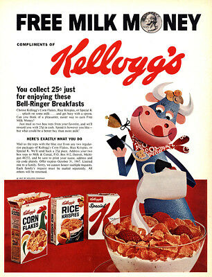 1969 Kelloggs Cereal: Free Milk Money, Bell Ringer Breakfasts Vintage Print Ad