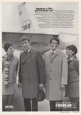 1969 Foxhead Coat: Happiness Is TWA and a Foxhead Coat Vintage Print Ad