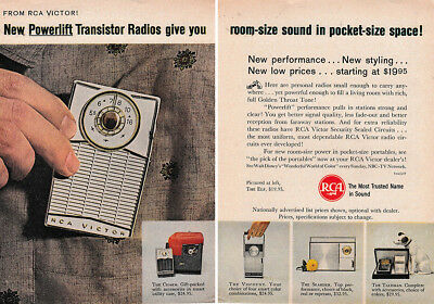 1962 RCA: New Powerlift Transistor Radios Vintage Print Ad