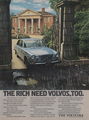 1973 Volvo: The Rich Need Volvos Too Vintage Print Ad