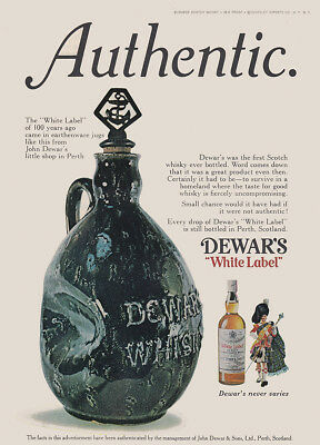 1973 Dewars: Authentic, White Label of 100 Years Ago Vintage Print Ad