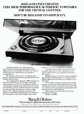 1975 Bang & Olufsen: High Performance Automatic Turntable Vintage Print Ad