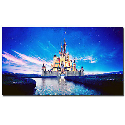HD Canvas Painted Oil Painting Wall decor Disney castle night bright scenery