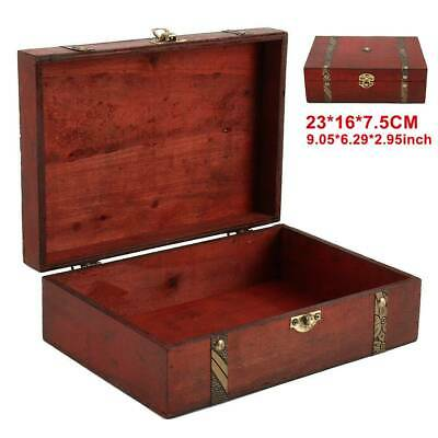 Vintage Wooden Treasure Chest Wood Jewellery Storage Box Case Organiser Ring