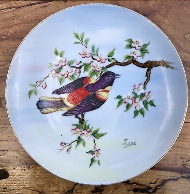 Antique Hinode Hand-Painted *Bird On Tree* Porcelain Wall Plate Japan