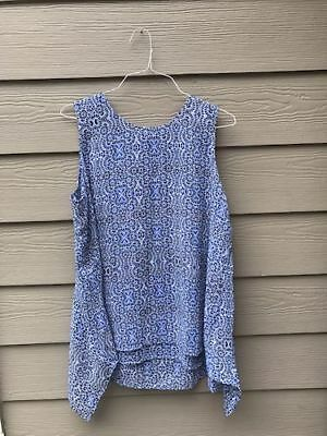 NWT, Fever Women's Sleeveless Blouse, Cleamatis Blue, Size S