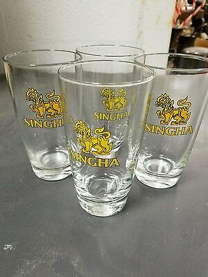 Lot of 6  SINGHA Beer Glasses / Tumblers w/ Lion ~ Union Glassware .25L capacity