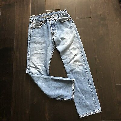 Levis 501 vintage VTG distressed button fly womens jeans pants light wash 31x32