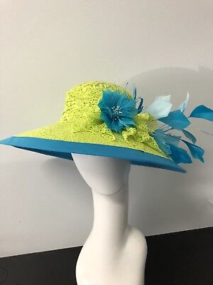 Wendy White Millinery Melbourne Cup Hat Neon Yellow And Aqua