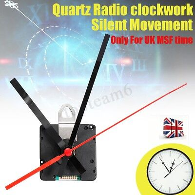 Radio Controlled Ticking Quartz Clock Movement Mechanism 200mm Black Hands