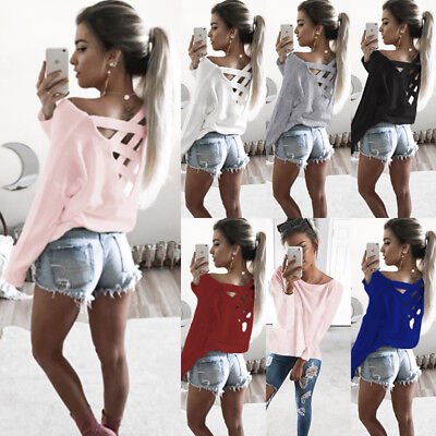 UK Women Long Sleeve Cross Back Pullover Ladies Casual Loose Tops T-Shirt Blouse