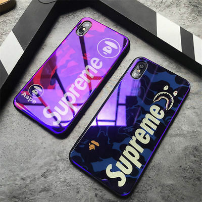 Supreme Bape Shark blue ray camouflage hard Case Cover for iPhone X 6 6s 7 8 Plu