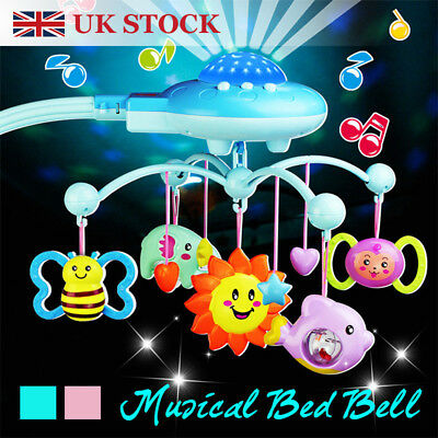 Baby Musical Crib Bed Cot Mobile Stars Dreams Light Flash Nusery Lullaby Toys GB