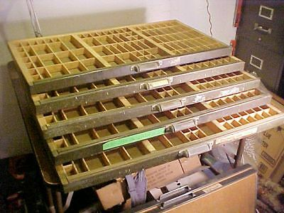(5) FIVE Vintage  Printers Type Cabinet Drawer Tray Wood 32 1/4 x 16 3/4 x 1 1/2