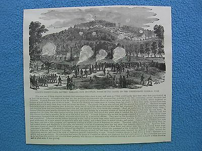1884 Civil War Print - Knapp's Pennsylvania Battery Shelling Pine Mountain, GA