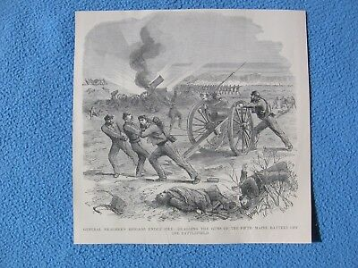 1898 Civil War Print - 5th Maine Battery Dragging Artillery Off the Battlefield