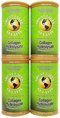 4 x Great Lakes Gelatin Co.Collagen Hydrolysate, Collagen Joint Care, 16 oz ea