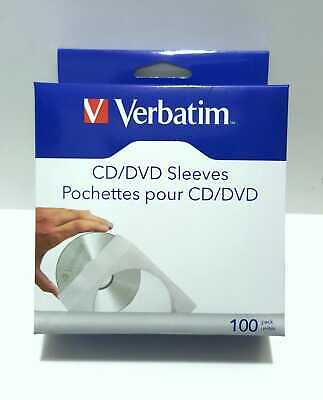 Verbatim Lot 100 Cd/dvd Sleeves White, For Protect Your Cds And Dvd Clear Window