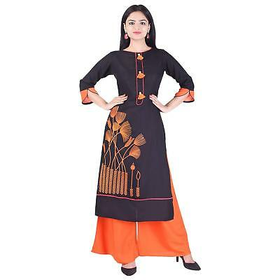 Women Black Embroidered Straight Casual & Party Wear Kurti