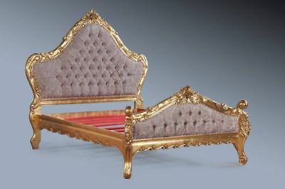 Statement Large Boudior Gold Leaf Champagne Gilt French Ornate Rococo Double Bed