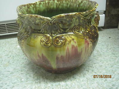 Vintage Art Deco Majolica Flower Pot Jardiniere Cache greens golds rusts