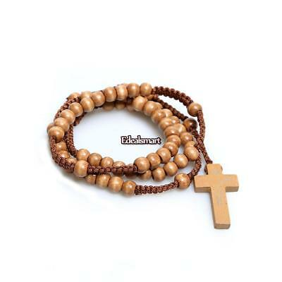 New Unisex Wooden Beads Rosary Necklaces with Pendant Cross ES88 01
