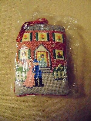 "Vtg Hallmark ""From Our House to Yours"" Needlepoint Christmas Ornament 1985"