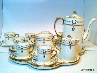 Antique 1916 John Aynsley Imperial Complete Tea Set Coffee Very Rare Meissen Era
