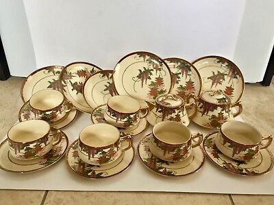 Old (Meiji Period) 20 Pc. Japanese Satsuma Wisteria Pagoda Tea Set