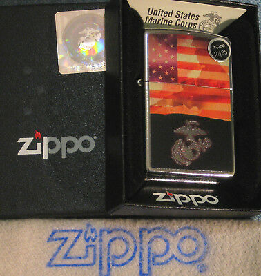 ZIPPO  MILITARY lighter USMC Soldier FLAG Logo COLOR IMAGE Mint in Box NEW 29123