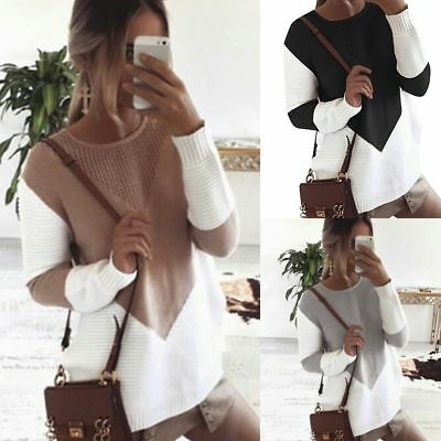 Womens Long Sleeve Patchwork Ladies Tops Winter Knitted Sweater Jumper Oversized