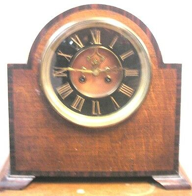 "French Oak Case Dome-Top Visible Movement Striking Mantle Clock GWO 12""H 12""W"