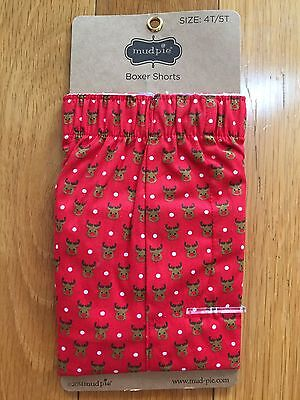 NWT Mud Pie Holiday Red Rudolph Reindeer Boxers Shorts  Sz 4T/5T Christmas
