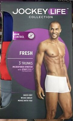 Jockey Life Collection Men's Trunk Briefs 3-Pack Microfiber Size Large