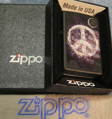 ZIPPO  PATRIOTIC lighter PEACE ON FLAG Mint in Box COLOR IMAGE 29430 NEW