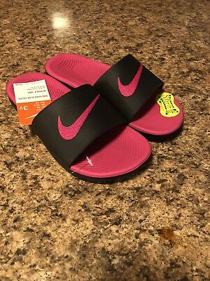 2b28526e25 NEW GIRL'S NIKE Kawa Slide Sandals in Black/Vivid Pink - $21.97 ...