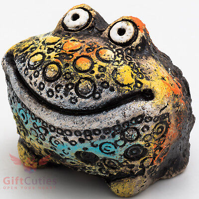 Clay Grog figurine Frog Toad smiling souvenir handmade hand-painted