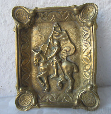 Antique vintage embossed  bronze / brass ornate ashtray with flag bearer, horse