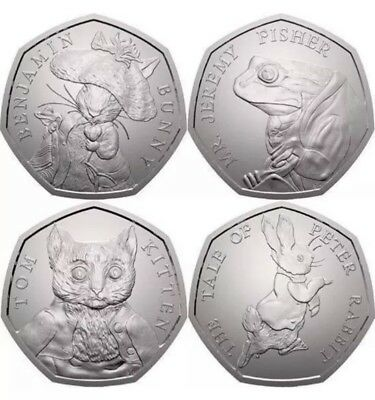 2017 - Complete 4 Coin Beatrix Potter 50p Collection - Uncirculated