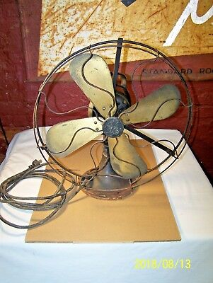 "Vintage G.e. Oscillating Fan W/ Brass Blades - Aou - Af2 - 75425 -16"" - Working"