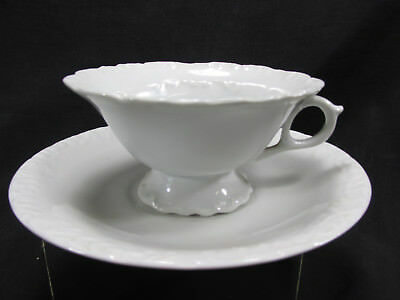 Antique Moustache Cup & Saucer White Ironstone Ornate Vintage