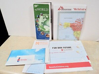 world maps lot of 7 AAA+ 6 from charities good for classroom