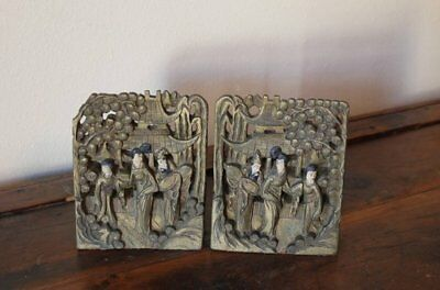 Vintage Bookends Carved Wood Oriental Asian Japanese Oriental Decor