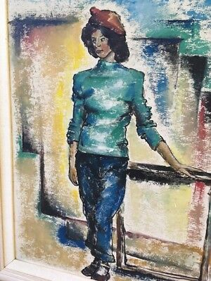 Francis Revesz Ferryman-Painting Cubism Midcentury-Woman-Listed Artist!