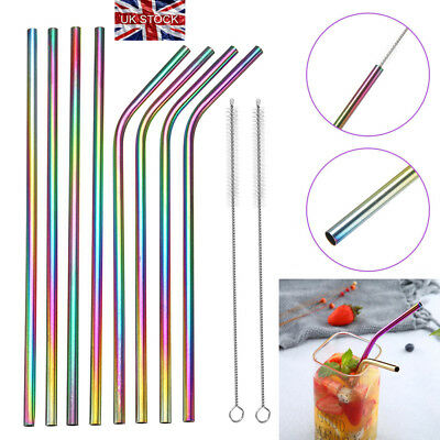 Rainbow Stainless Steel Straws Party Drinking Juice Straws Reusable w/ Cleaner K