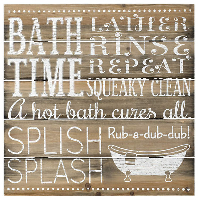 Malden International Designs Rustic Bath Time Silkscreened Pallet Wood R...