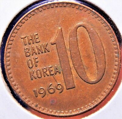 South Korea 10 Won 1969 About UNC Scarce in Higher Grades, Nice Original Coin!